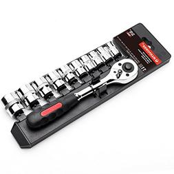 "MAXPOWER 11-Piece 3/8"" Metric Ratcheting Socket Wrench Set -"