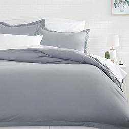 AmazonBasics Microfiber Duvet Cover Set - Full/Queen, Dark G