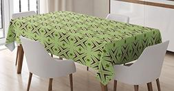 Ambesonne Mid Century Tablecloth, Atomic Form with Boomerang