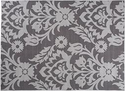 "Modern Transitional Damask Non-Slip  Area Rug 20"" X 30"" Gray"