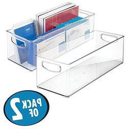 mDesign Office Supplies Desk Organizer Bin for Rulers, Notep