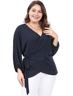 uxcell Women's Plus Size Wrap Chiffon Blouse Tie-Belt V-Neck