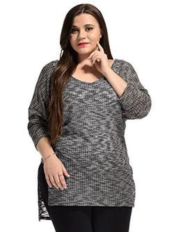 uxcell Women Plus Size Scoop Neck Lightweight Hi-Low Knit To