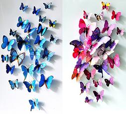 ElecMotive 12 pcs Purple + 12 pcs Blue 3D Butterfly Stickers