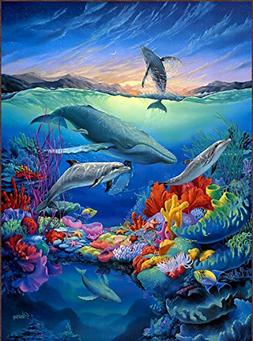 Real Hand Painted Underwater World gift for kids Canvas Oil