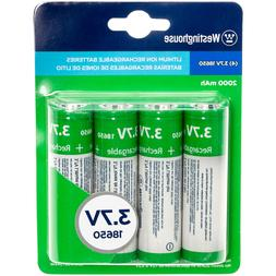 4 pack Westinghouse Rechargeable Batteries, 3.7V, 2000mAh, L