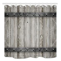 DYNH Rustic Barn Door Shower Curtain wooden, Wood with Metal