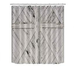 LB Rustic Barn Door Grey White Painted Barn Wood Decor Showe
