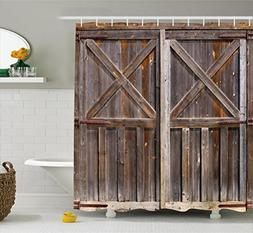 Ambesonne Rustic Shower Curtain, Old Wooden Barn Door of Far
