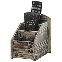 3 Slot Rustic Torched Wood Remote Control Caddy/Media Organi