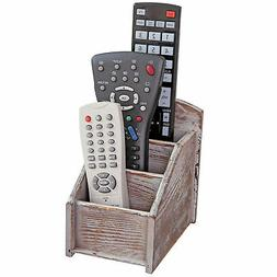 Rustic Wood Remote Control Caddy, 3 Slot Office Supply Stora