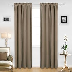 Deconovo Solid Rod Pocket Curtain Panel Thermal Insulated Bl