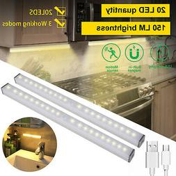 Under Closet 20 LED Light PIR Motion Sensor USB Rechargeable