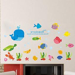 BIBITIME Under Sea Wall Decal Whale Turtle Lobster Shell Sta