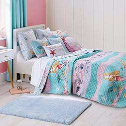 2 Piece Underwater Sea Mermaids Pattern Reversible Quilt Set