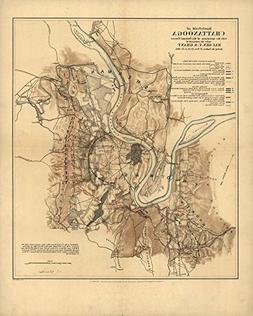 Vintage 1863 Map of Battlefield of Chattanooga with the oper