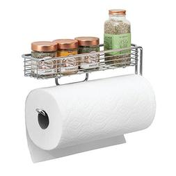 mDesign Wall Mount Paper Towel Holder with Storage Shelf for