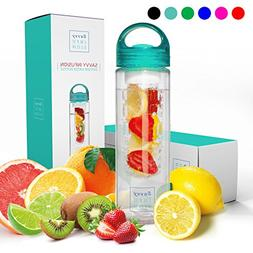 Savvy Infusion Water Bottles - 24 or 32 Ounce Fruit Infuser