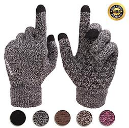 Achiou Winter Warm Touchscreen Gloves for Women Men Knit Woo